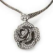 Large Dimensional Swarovski Crystal 'Rose' Pendant Collar Necklace In Burn Silver Finish - 38cm Length