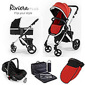Riviera Plus 3 in 1 Silver Travel System - Black / Coral Red
