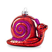 Pair of Red Metallic Glass Snails Novelty Christmas Decoration Baubles