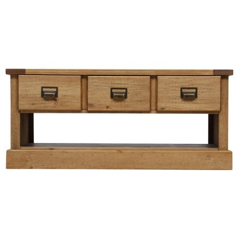 Buy portobello coffee table 3 drawer rustic pine from our coffee tables range tesco Pine coffee table with drawers
