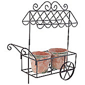 Antique Bronze Metal Vintage Trolley Garden Pot Holder or Herb Planter