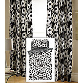 Black and White Football Themed Double Duvet with Matching Tab Top Curtains