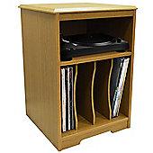 Audio - Turntable / Lp Record / Vinyl Storage Side End Table - Oak