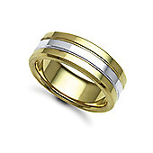 Jewelco London Bespoke Hand-Made 9 carat Yellow & White Gold 8mm Flat Court Wedding / Commitment Ring,