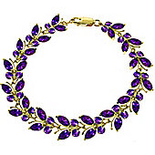 QP Jewellers 8.5in 16.50ct Amethyst Butterfly Bracelet in 14K Gold