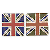 Union Jack Flag Coasters Vintage Design - 1 x Blue and 1 x Green