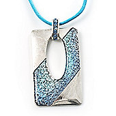 Rhodium Plates Open Square Crystal Cotton Cord Pendant (Blue&Aqua)