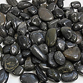 30KG Bag Black Polished River Pebbles