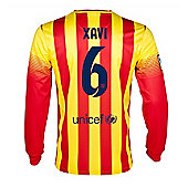 2013-14 Barcelona Away Long Sleeve Shirt (Xavi 6) - Red