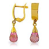 QP Jewellers 2.50ct Pink Topaz Huggie Tear Earrings in 14K Gold