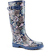 Brantano Ladies Dark Floral Blue Wellington Boots - Blue