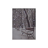 Snowtime Battery Powered LED Snowy Park Bench Canvas