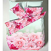 Catherine Lansfield Garden Rose Single Bed Photographic Quilt Set Pink