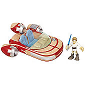 Playskool Heroes Star Wars Jedi Force - Landspeeder Vehicle with Luke Skywalker Figure