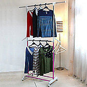 Germaine - Extending Wardrobe / Clothes Storage Rail - Silver / Pink