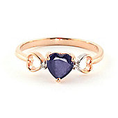 QP Jewellers Diamond & Sapphire Trinity Heart Ring in 14K Rose Gold