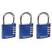 Sterling Aluminium Combination Padlock - 40mm Pack of 3