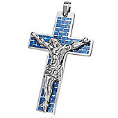 Urban Male Large Blue Carbon Fibre & Stainless Steel Crucifix Pendant