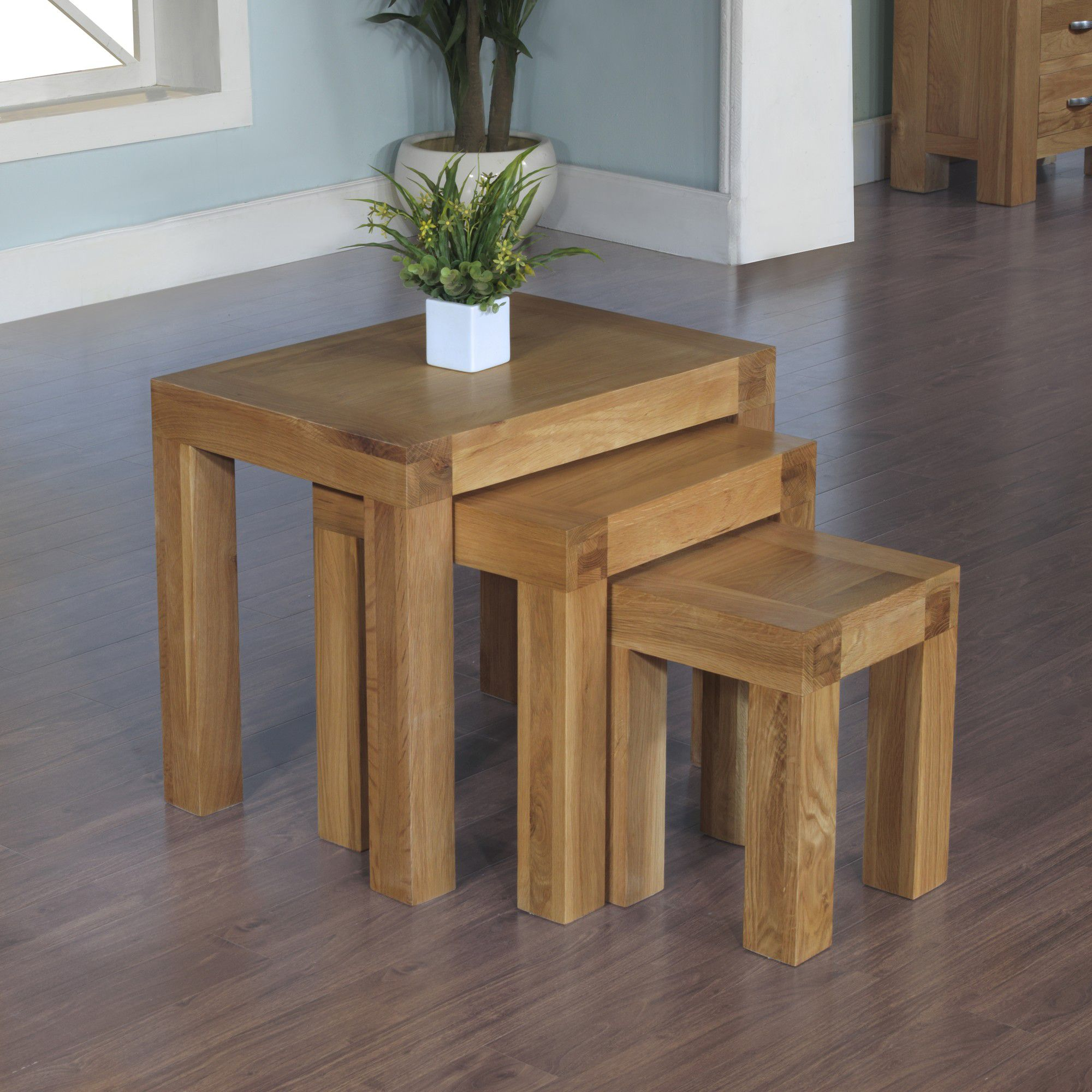 Hawkshead Rustic Oak Blonde Nest of 3 Tables at Tesco Direct