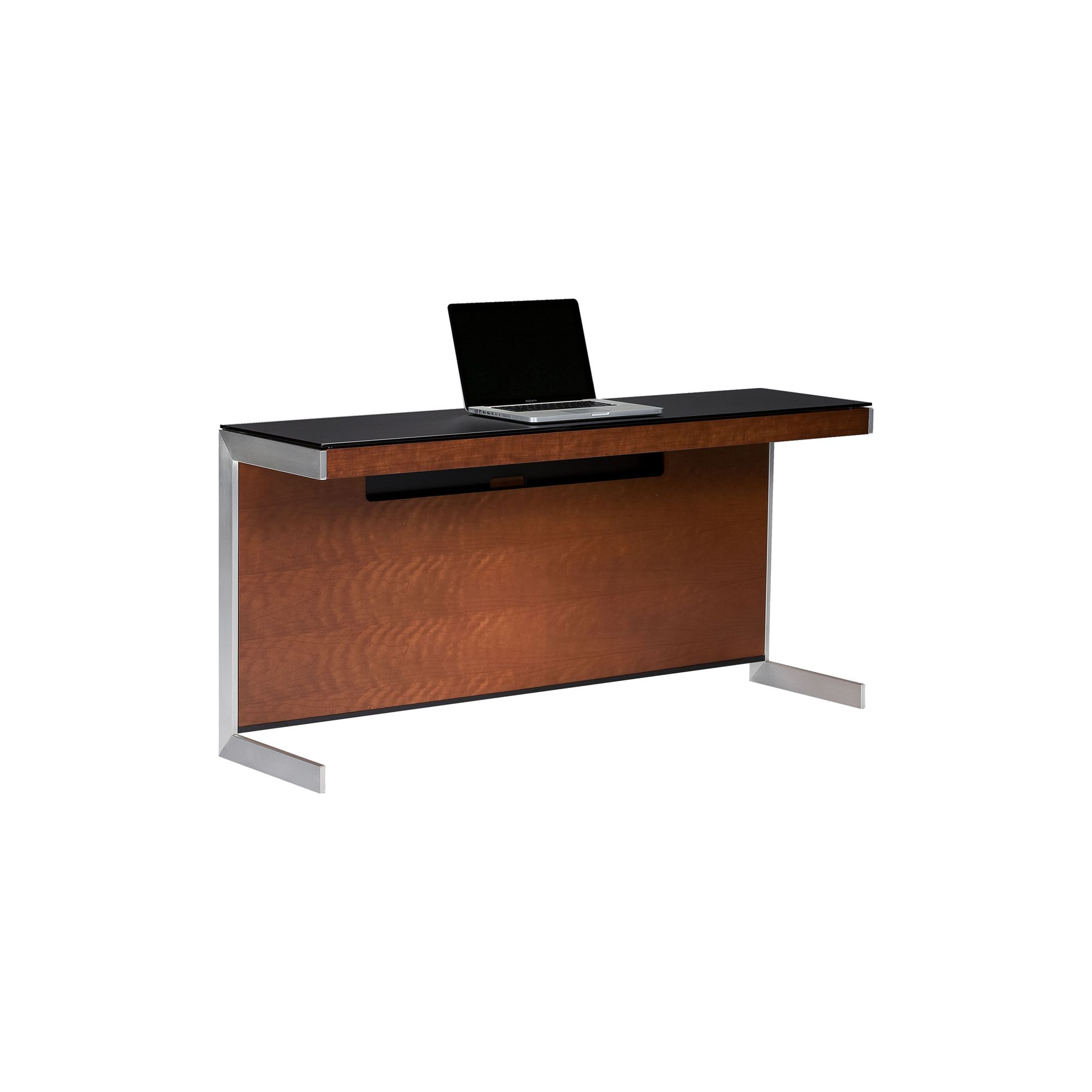 Sequel 6002 Desk in Natural Stained Cherry with Glass Top at Tescos Direct