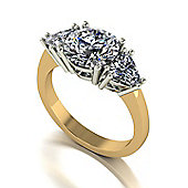 18ct Gold 8.0mm Round Brilliant and two 5.0mm Trillion Moissanite 3 Stone Ring