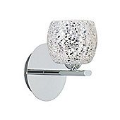 Mosaic Crackle Glass Wall Light with Chrome Metal
