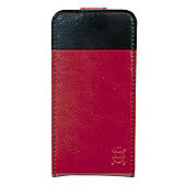 Tortoise™ Look Faux Leather Flip Case iPhone 4/4S Red/Black strip