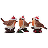Set of 3 Realistic Robin Birds in Santa Hats Christmas Ornament Decorations