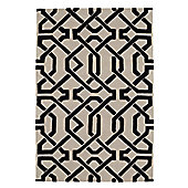 Husain International Cordoba Grey/Black Tufted Rug - 180cm x 120cm (5 ft 11 in x 3 ft 11 in)