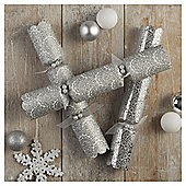 Tesco Luxury Silver Glitter Crackers, 6 Pack