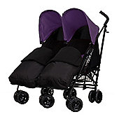 Obaby Apollo Black & Grey Twin Stroller with 2 Black Footmuffs, Purple