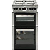 Beko BDV555AX 50cm Wide Double Oven Electric Cooker With Solid Hot Plate Hob - Stainless Steel