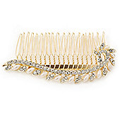 Bridal/ Wedding/ Prom/ Party Gold Plated Clear Crystal, Pearl Leaf Hair Comb - 95mm