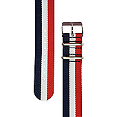 Rec Unisex Multicoloured Watch Strap 22-REDWHTBLU3-SAT