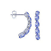 QP Jewellers 2.50ct Tanzanite Linear Stud Earrings in 14K White Gold