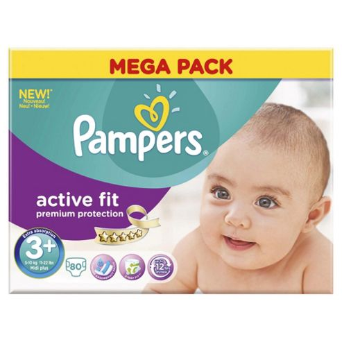 Pampers Active Fit Size 3+ Mega Pack - 80 nappies