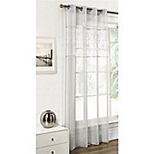Dreams and Drapes Paloma Silver 52x90 inches ( 132x228cm) Eyelet Single Curtain