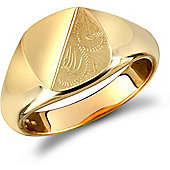 Jewelco London 9ct Solid gold polished diamond cut squared cushion shaped Signet Ring