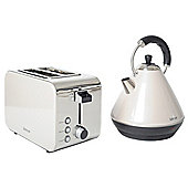 Igenix IGPK11 Breakfast Set Pyramid Kettle and 2 Slice Toaster - Metallic Cream