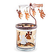 Copper Metal & Glass Carousel Christmas Tea Light Holder with Angels