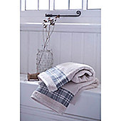 Catherine Lansfield Home Cosy Corner Swing Check Border 450gsm Bath Towel Cream & Grey