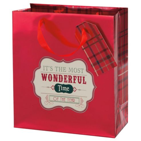 Tesco Tartan Gift Bag, Medium