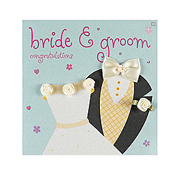 Fashionista Bride and Groom Wedding Congratulations Card