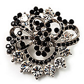 Black & White Diamante Corsage Brooch (Silver Tone)