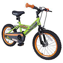 """Zinc 16"""" Boys Green & Orange Bike"""