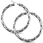Jewelco London Sterling Silver Candy Twist s Hoop Earrings - 5mm