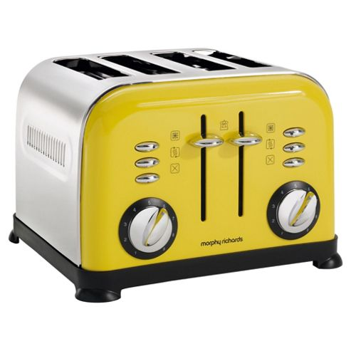Morphy Richards 44799 Accents 4 Slice Toaster - Yellow