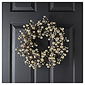 TESCO GOLD BALL WREATH 14 INCHES