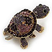 Amethyst/ Deep Purple Swarovski Crystal 'Turtle' Brooch In Gold Metal - 5.5cm Length