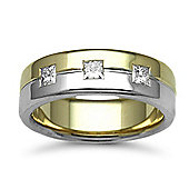 Jewelco London 18ct Yellow & White Gold 7mm Flat Court Diamond set 45pts Trilogy Wedding / Commitment Ring
